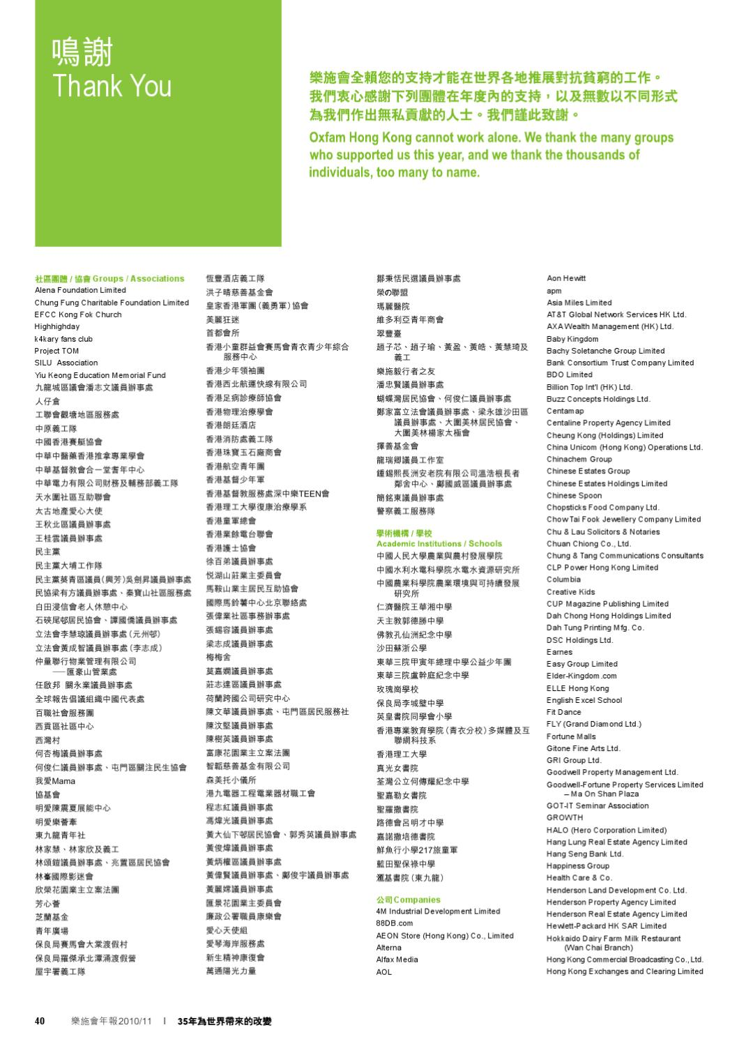 Annual Report 2010/11 by Oxfam Hong Kong - Issuu