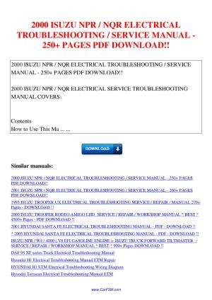 2000 Isuzu Npr Nqr Electrical Troubleshooting Service Manual 250 | circuit diagram template