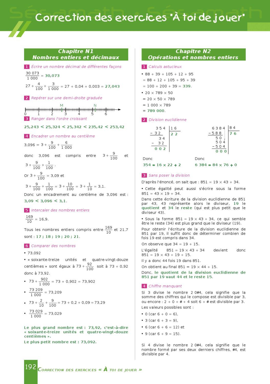 Sesamath 4eme Correction Des Exercices : sesamath, correction, exercices, Sésamath, Cycle, Correction