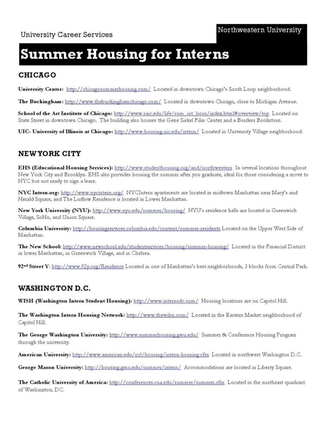 manhattan summer housing | Find Your World