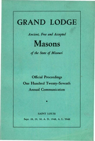 1948 Proceedings Grand Lodge Of Missouri By Missouri Freemasons