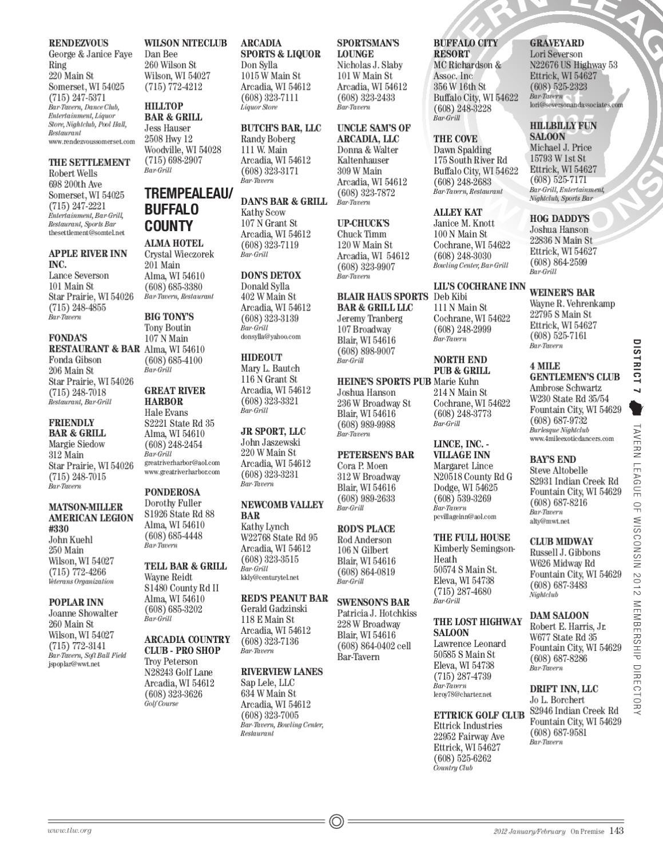 2012 Tavern League of Wisconsin Membership Directory