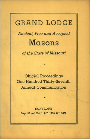 1958 Proceedings Grand Lodge Of Missouri By Missouri Freemasons