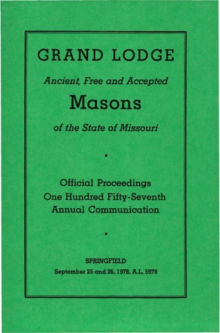 1978 Proceedings Grand Lodge Of Missouri By Missouri Freemasons
