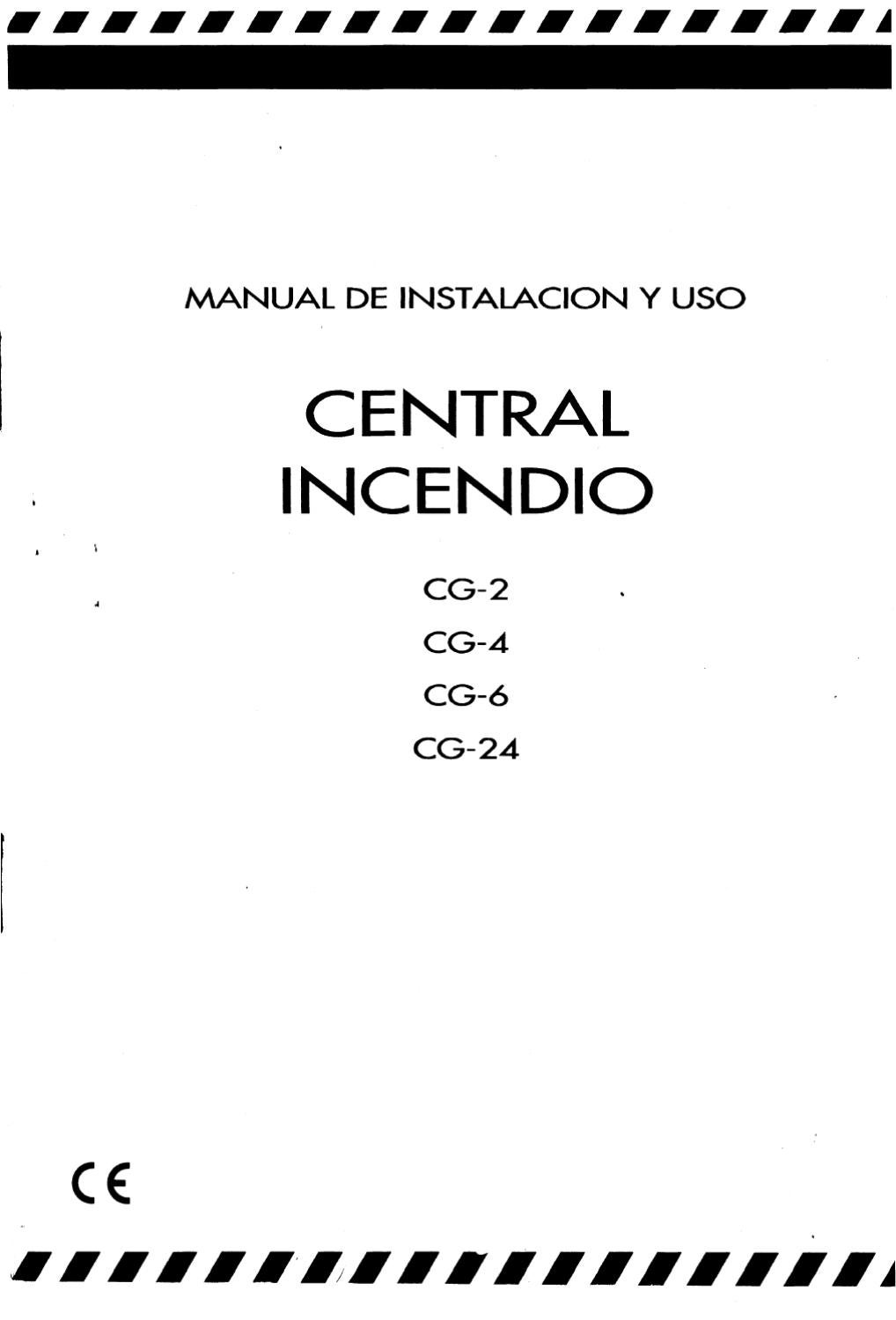 Central Incendio CG-2 a CG-24 Manual de instalacion y uso