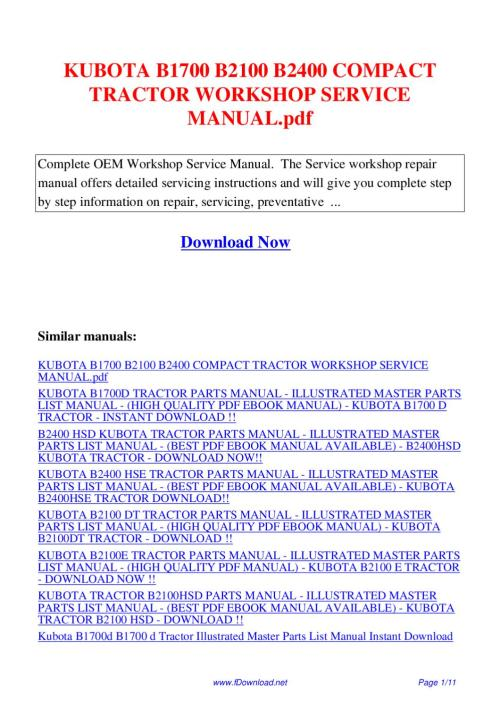 small resolution of kubota b1700 b2100 b2400 compact tractor workshop service manual pdf