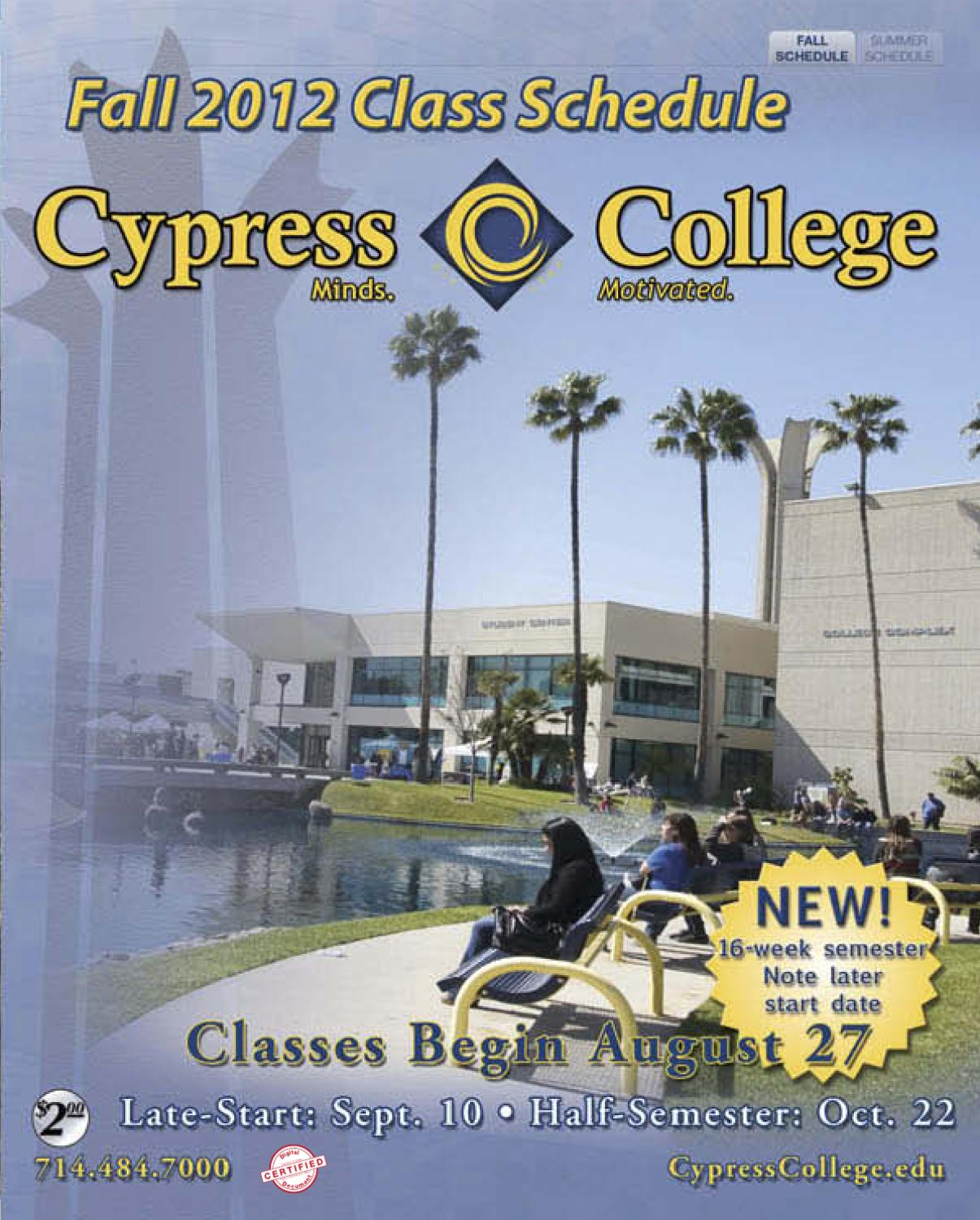 hight resolution of Cypress College 2012 Fall Schedule by Cypress College - issuu