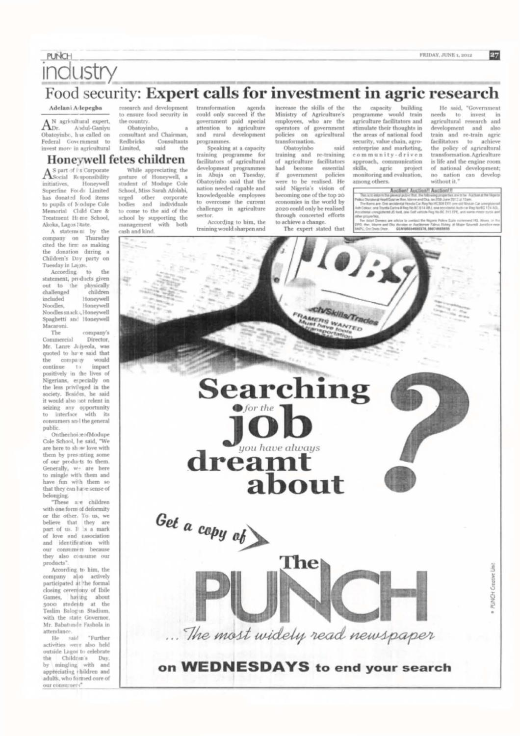 THE PUNCH, 01 JUNE, 2012 by International Institute of