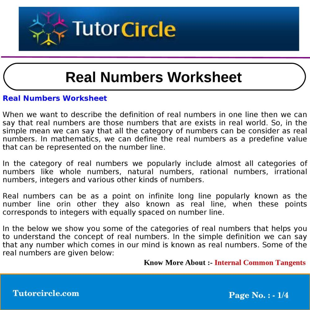 medium resolution of Real Numbers Worksheet by circle team - issuu