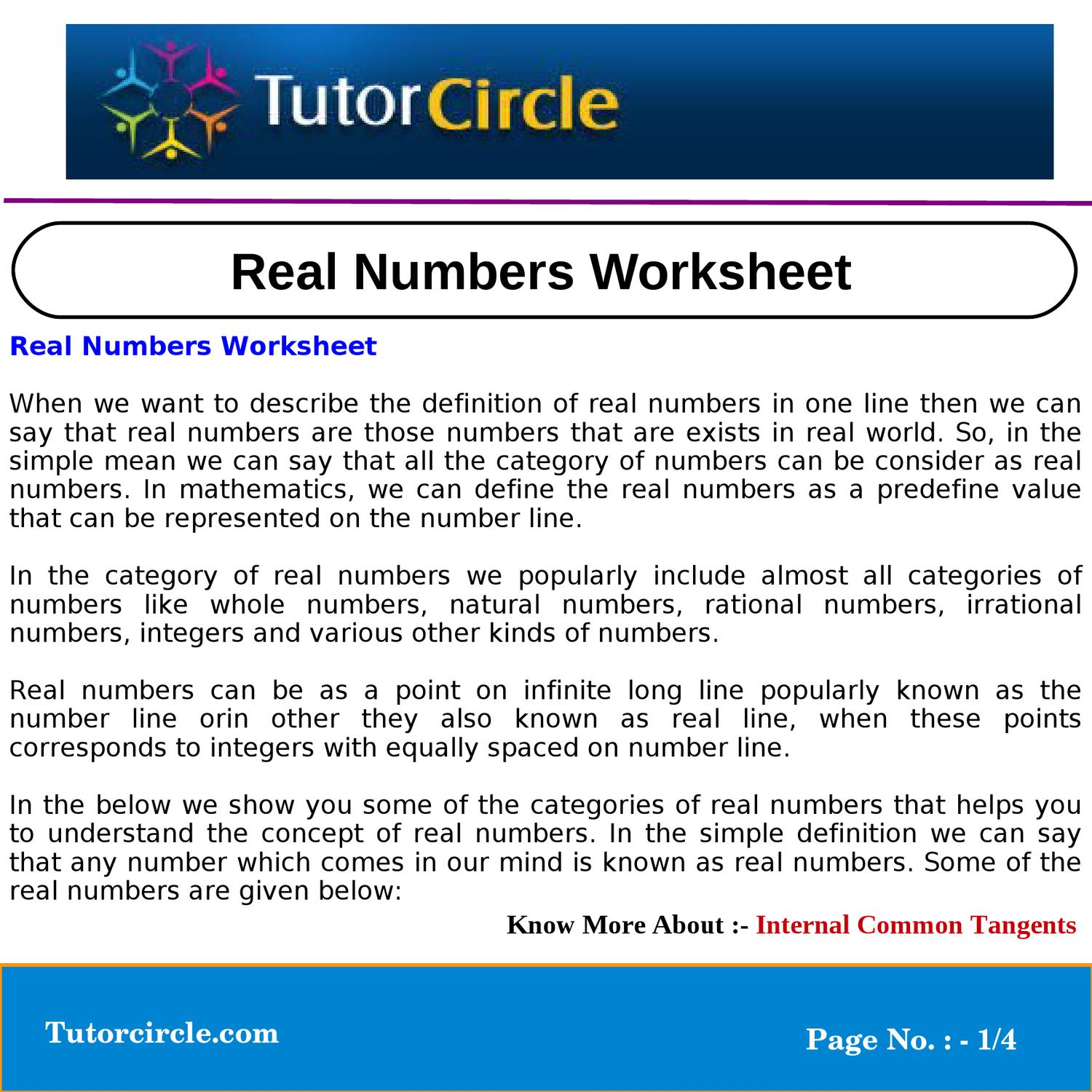 hight resolution of Real Numbers Worksheet by circle team - issuu