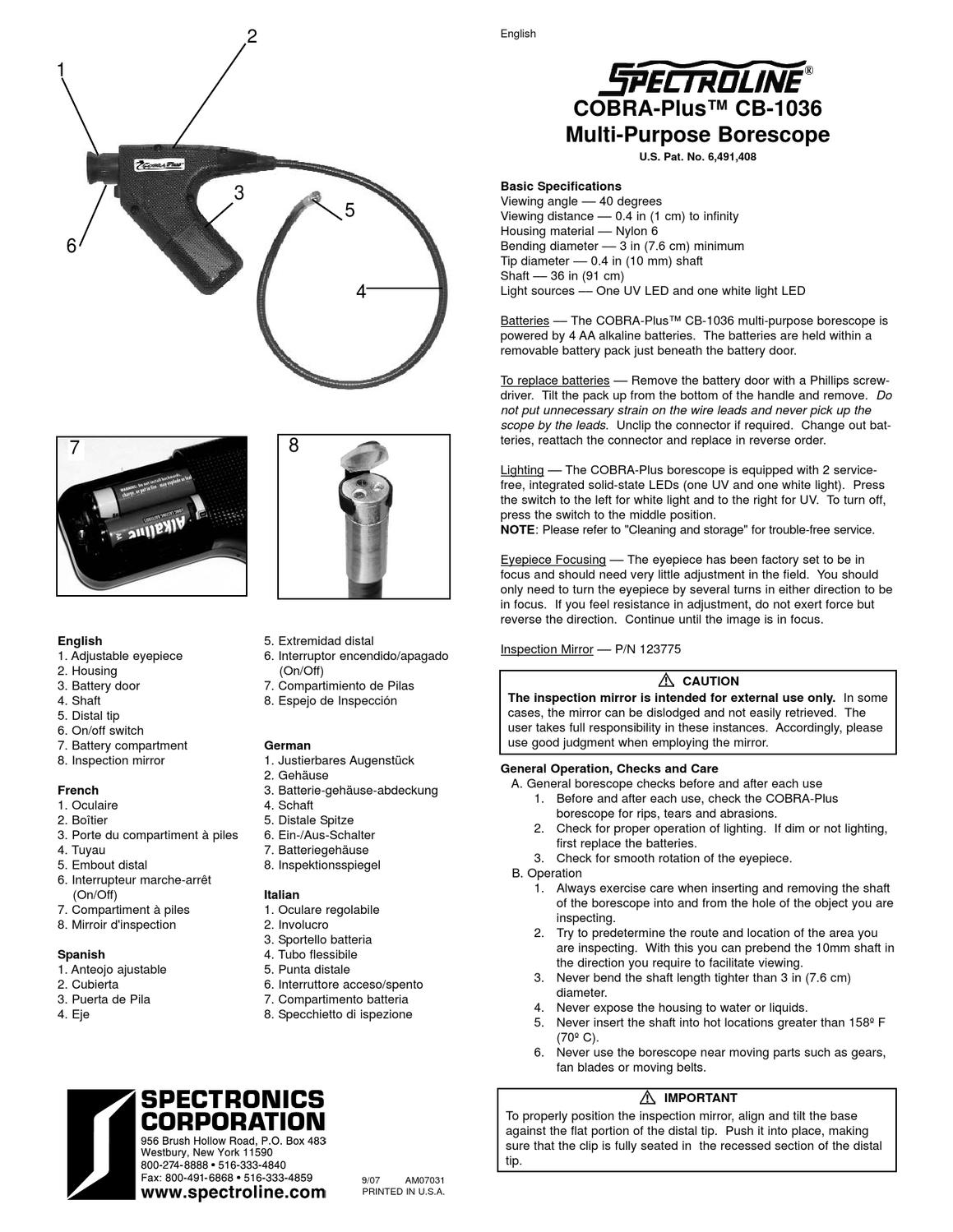 COBRA Plus CB-1036 Instrux Sheet M-L AM07031 by
