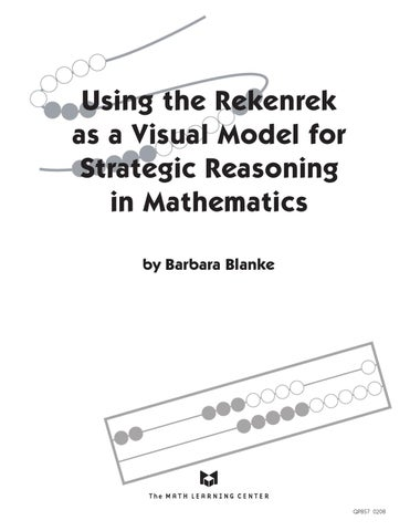 Using the Rekenrek as a Visual Model for Strategic