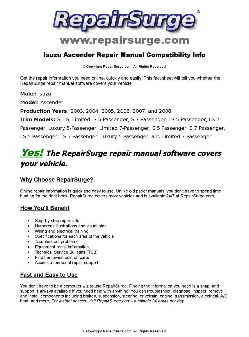 medium resolution of isuzu ascender online repair manual for 2003 2004 2005 2006 2007 and 2008 by repairsurge issuu