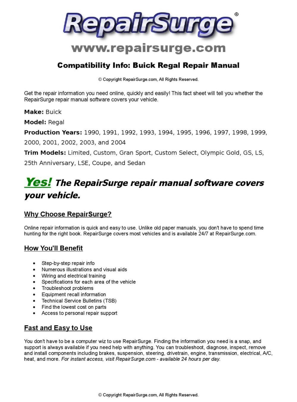 medium resolution of buick regal online repair manual for 1990 1991 1992 1993 1994 1995 1996 1997 1998 1999 200 by repairsurge issuu