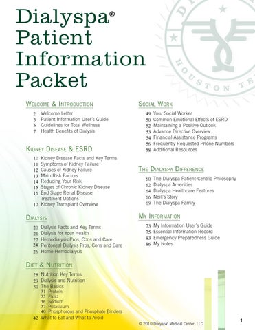 Dialyspa Dialysis Patient Information Packet by Dialyspa Dialysis  Issuu