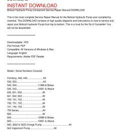 bobcat hydraulic pump component service repair manual download [ 1159 x 1499 Pixel ]