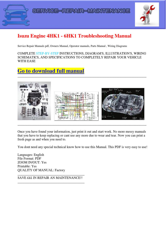 hight resolution of isuzu engine 4hk1 6hk1 troubleshooting manual by dernis castan issuu manual 4hk1 6hk1 isuzu repair manuals download wiring on isuzu 4hk1