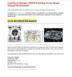 land rover defender 300tdi workshop service repair manual pdf download by dernis castan issuu [ 1060 x 1500 Pixel ]