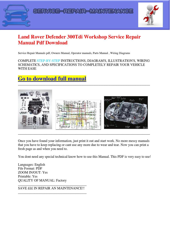 hight resolution of land rover defender 300tdi workshop service repair manual pdf download by dernis castan issuu