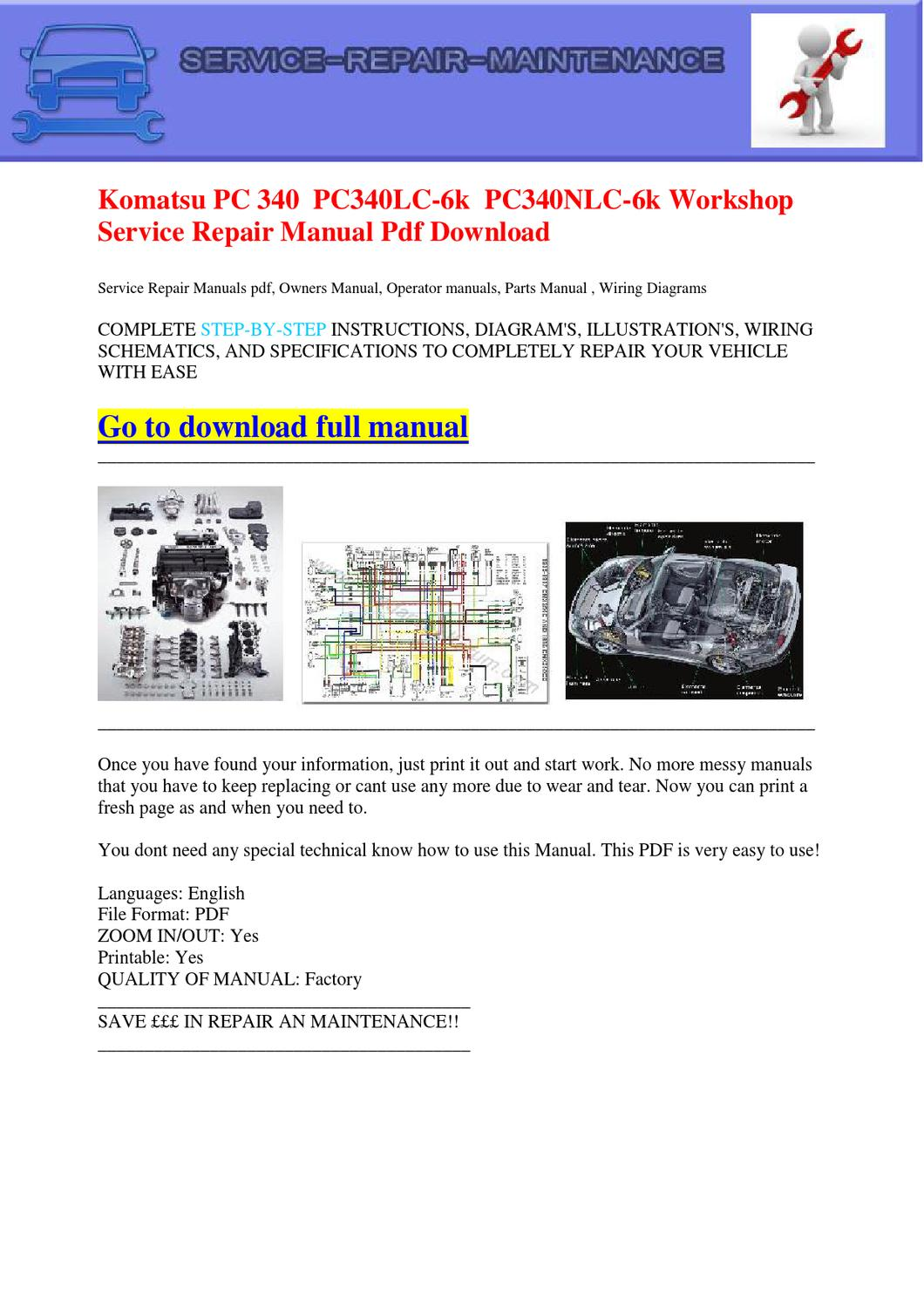 hight resolution of komatsu pc 340 pc340lc 6k pc340nlc 6k workshop service repair manual pdf download