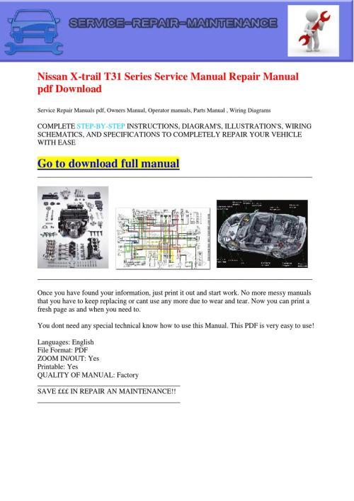 small resolution of nissan x trail t31 series service manual repair manual pdf download by dernis castan issuu