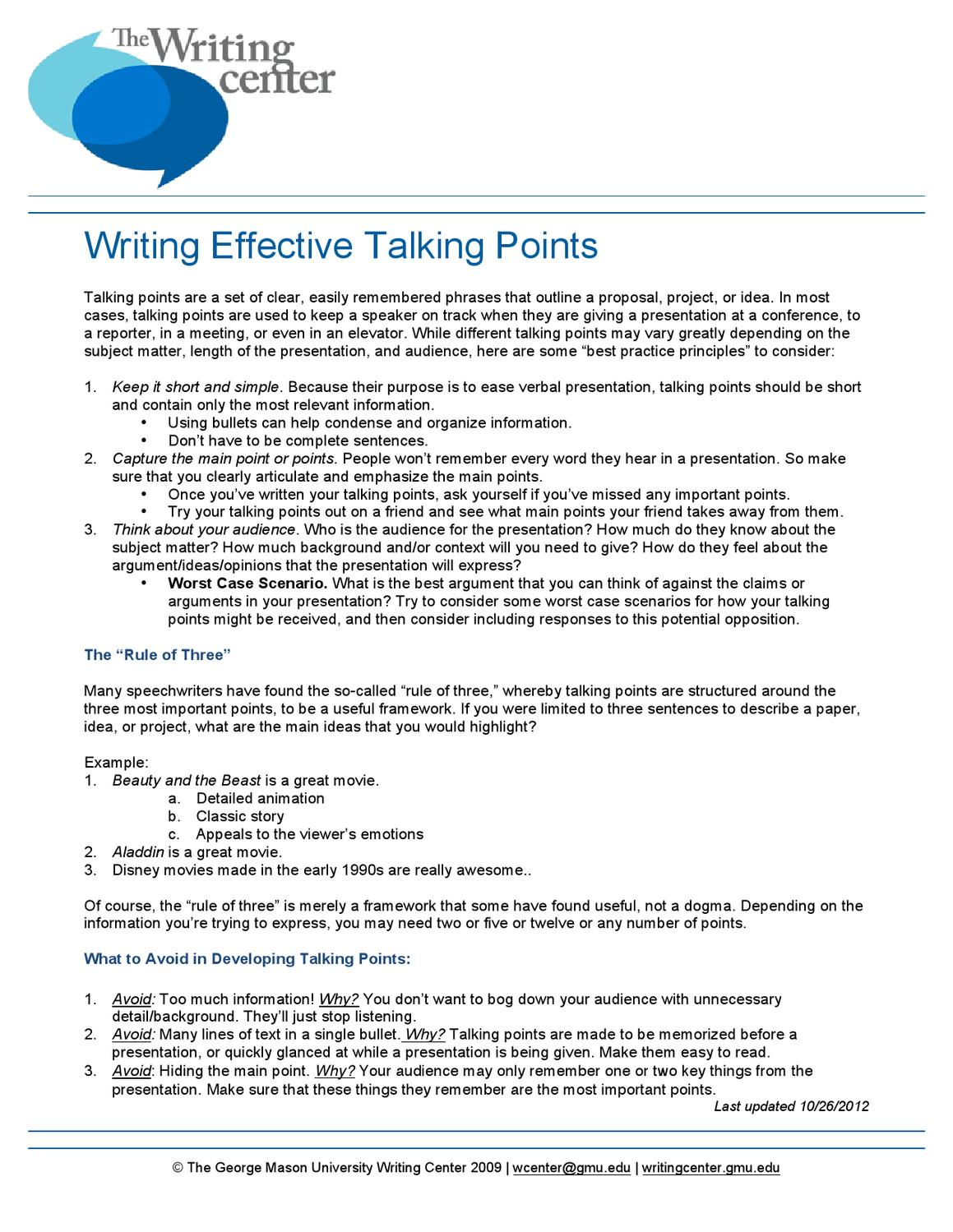 Writing Effective Talking Points By Writing Center Issuu