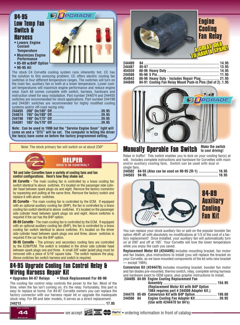 medium resolution of corvette central c4 84 96 corvette parts catalog by corvette corvette cooling fan control relay wiring harness repair kit 1984