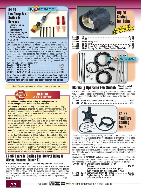 hight resolution of corvette central c4 84 96 corvette parts catalog by corvette corvette cooling fan control relay wiring harness repair kit 1984