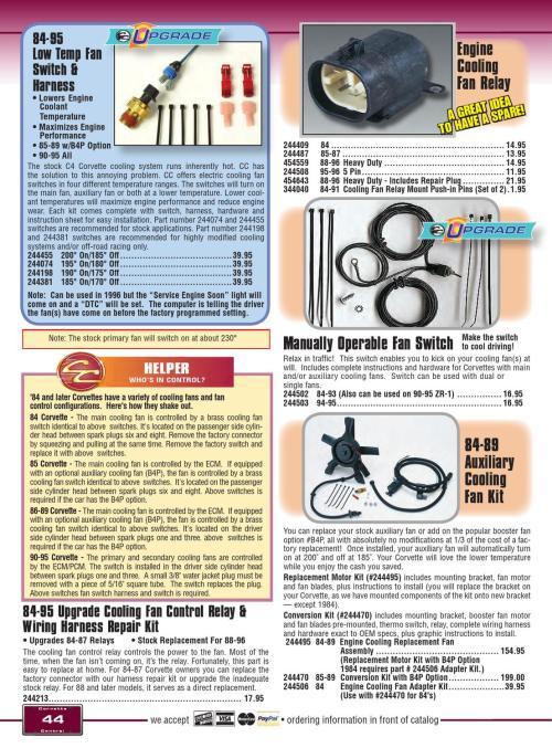 small resolution of corvette central c4 84 96 corvette parts catalog by corvette corvette cooling fan control relay wiring harness repair kit 1984