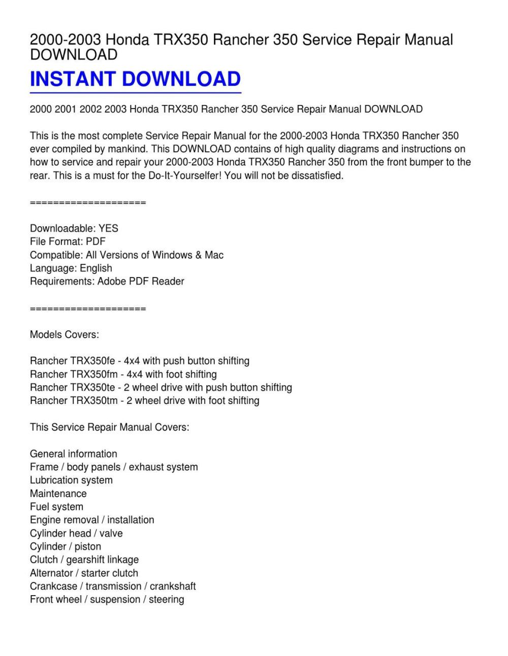 medium resolution of 2000 2003 honda trx350 rancher 350 service repair manual download from kevin fowler