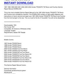 1997 2004 honda trx250te tm recon and fourtrax service repair manual download by scott pouncy issuu [ 1159 x 1499 Pixel ]