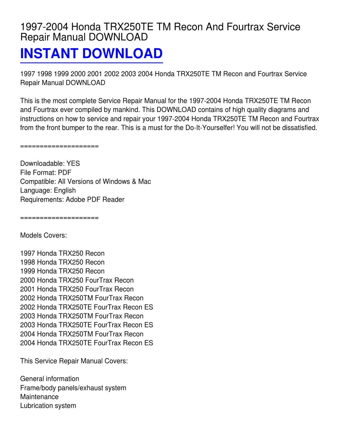 hight resolution of 1997 2004 honda trx250te tm recon and fourtrax service repair manual download by scott pouncy issuu