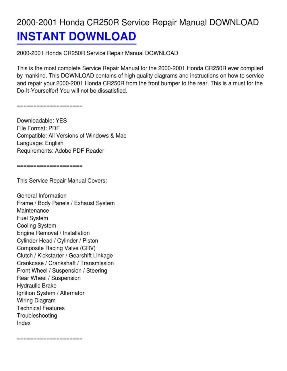 medium resolution of 2000 2001 honda cr250r service repair manual download by gloria calhoun issuu
