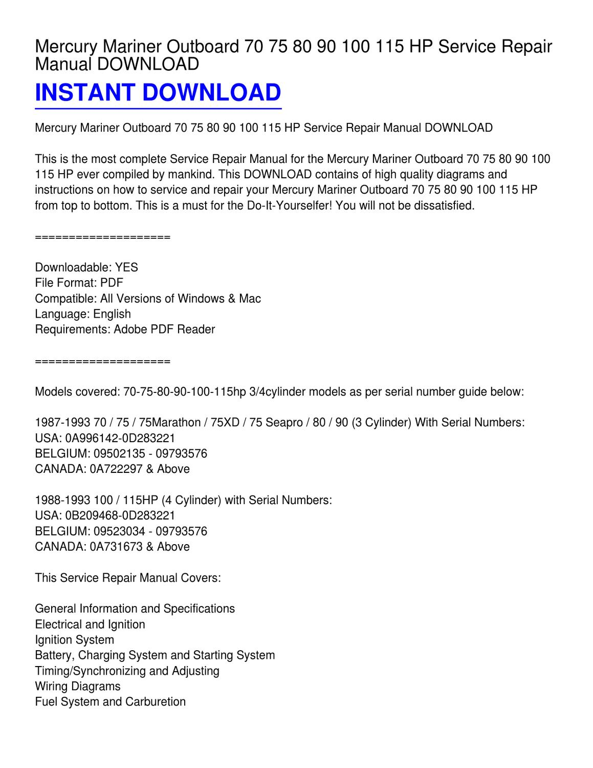 hight resolution of  1993 75 hp mariner outboard manual 2019 ebook liry hp mariner outboard wiring diagram on
