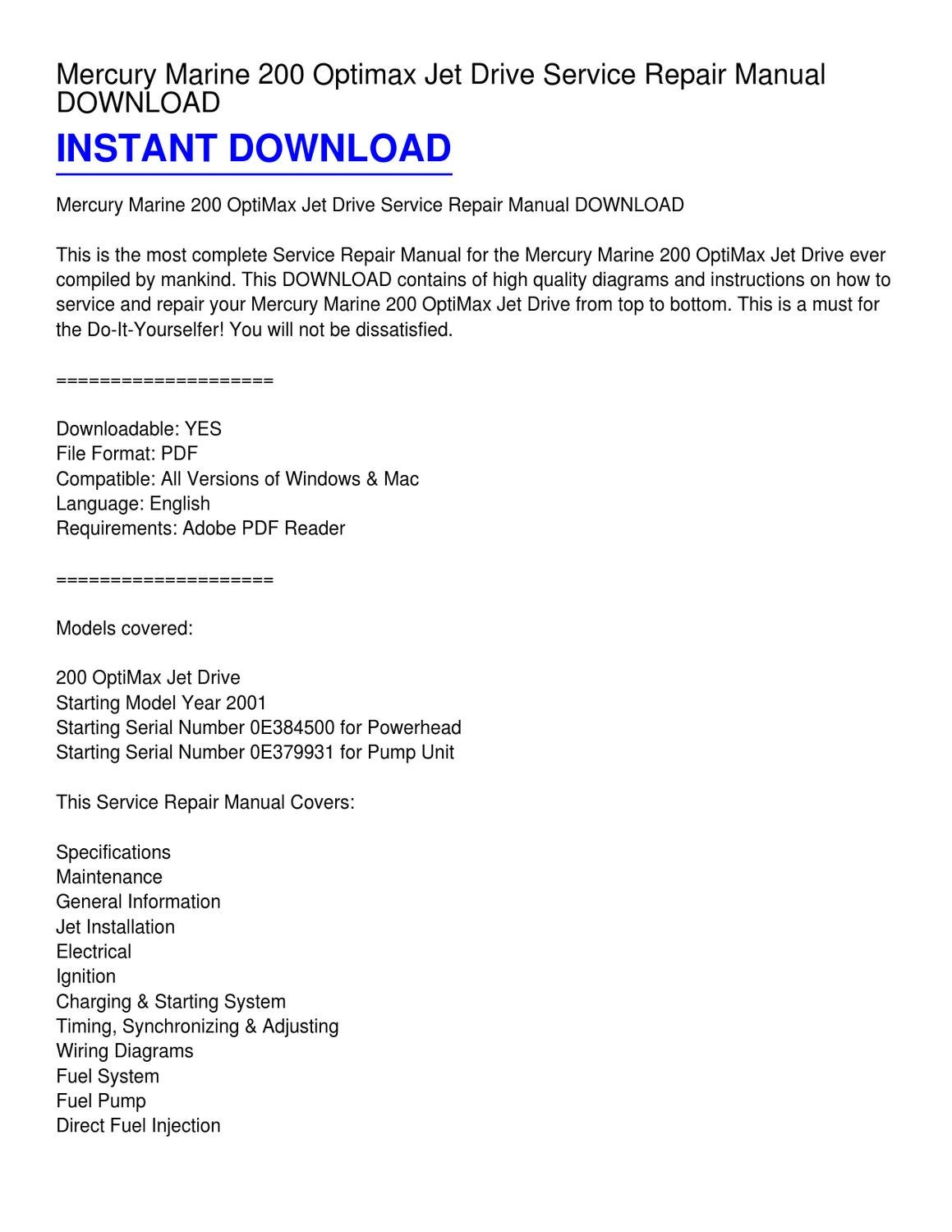 mercury 200 optimax wiring diagram freightliner radio marine jet drive service repair manual