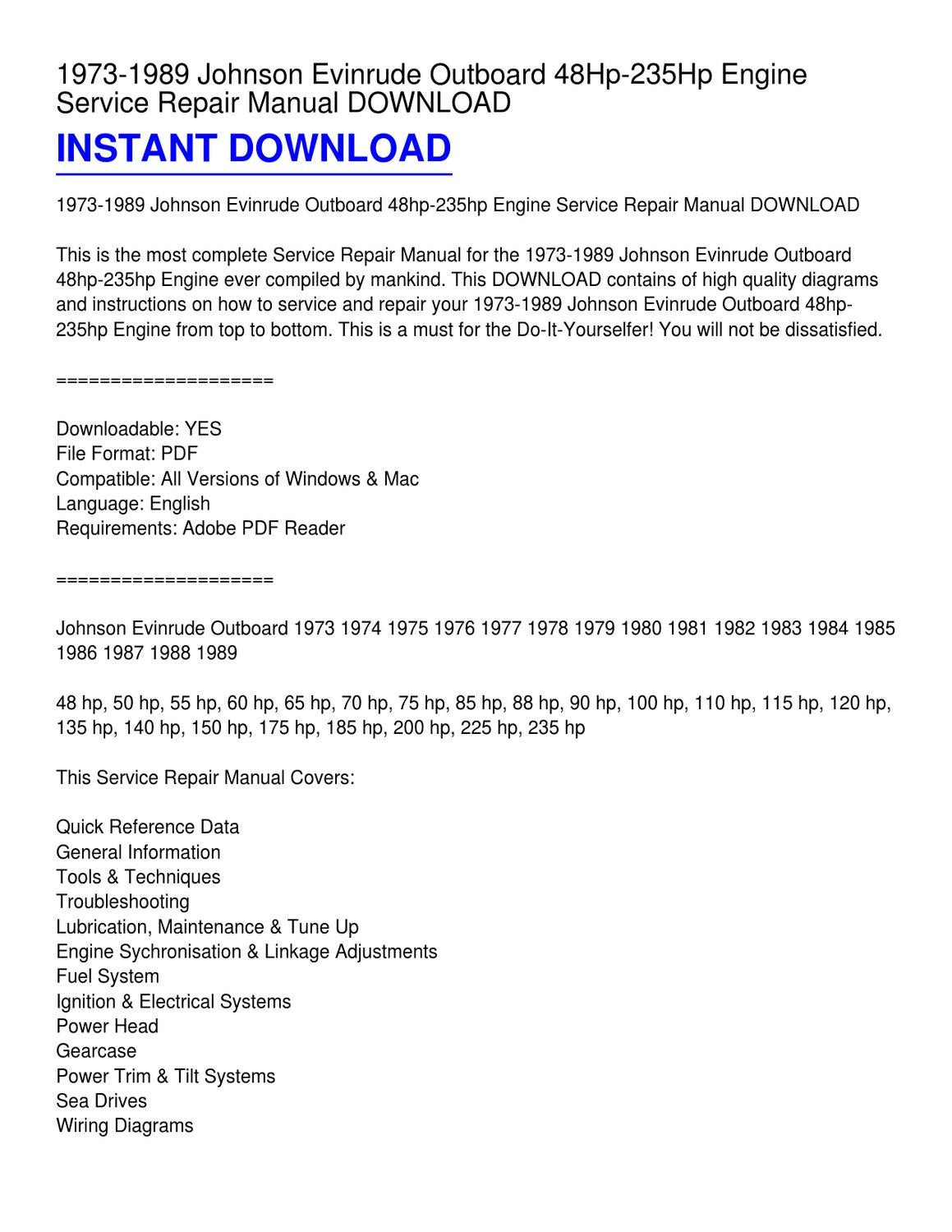 hight resolution of 1973 1989 johnson evinrude outboard 48hp 235hp engine service repair manual download