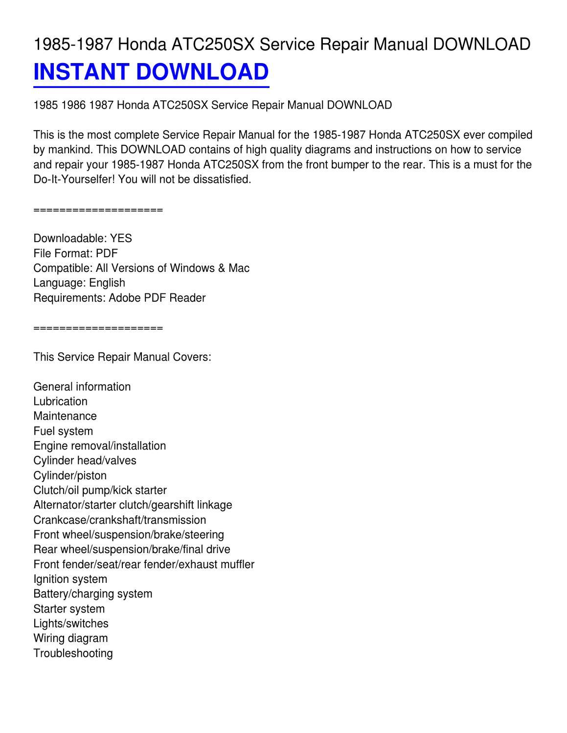 hight resolution of 1985 1987 honda atc250sx service repair manual download by phillip serrano issuu