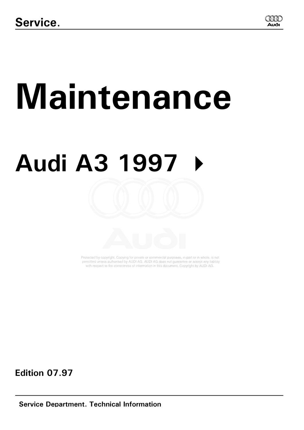 Manual de Mantenimiento General AUDI A3/S3 1997 by Julian