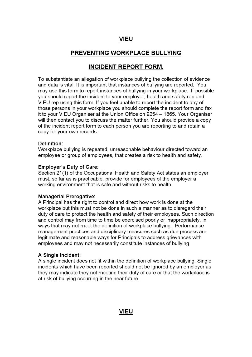 Employee Incident Report Template ] | Employee Incident Report ...