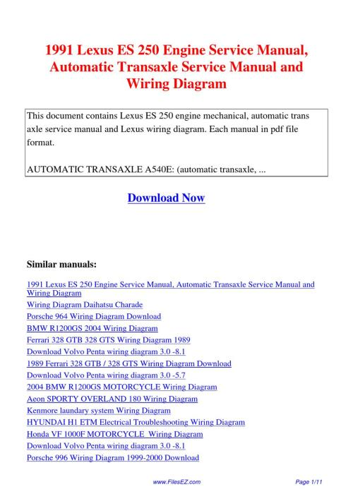 small resolution of 1991 lexus es 250 engine service manual automatic transaxle service manual and wiring diagram by david nan issuu
