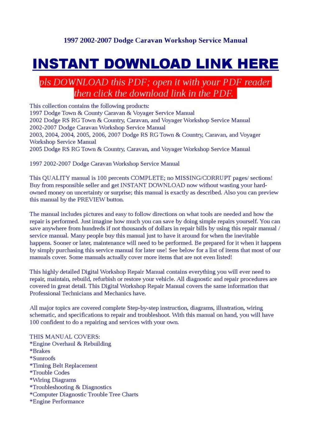 medium resolution of 1997 2002 2007 dodge caravan workshop service manual