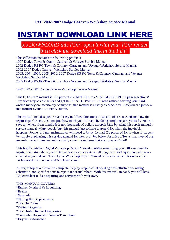 hight resolution of 1997 2002 2007 dodge caravan workshop service manual