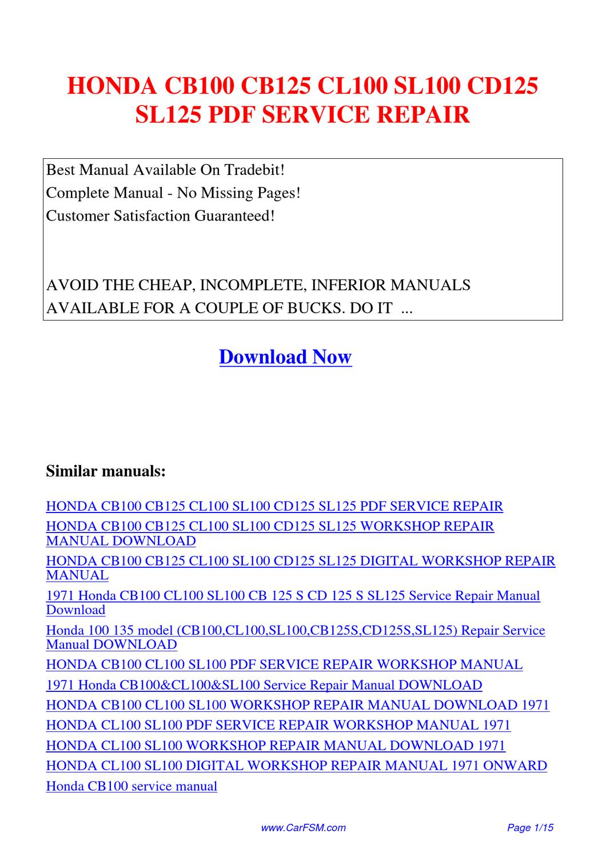 hight resolution of honda cb100 cb125 cl100 sl100 cd125 sl125 service repair by hui rh issuu com honda gx240 8hp engine honda engine gx240 service manual