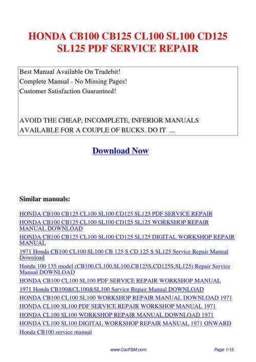 small resolution of honda cb100 cb125 cl100 sl100 cd125 sl125 service repair by hui rh issuu com honda gx240 8hp engine honda engine gx240 service manual