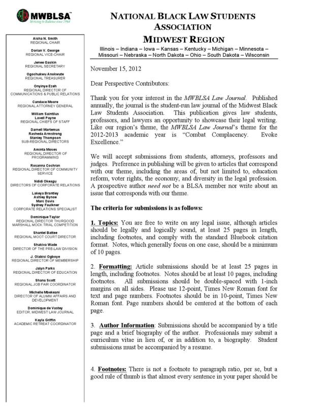 MWBLSA Law Journal Submission Information by National Black - issuu