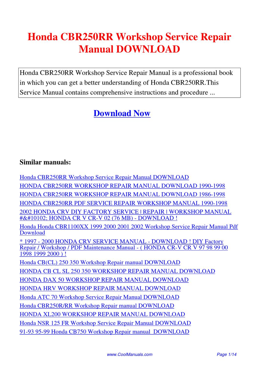 honda cbr250rr workshop service repair manual by lan huang
