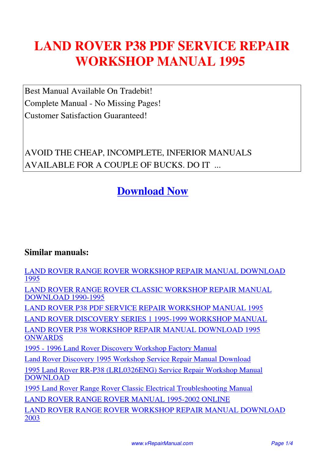 Range Rover P38 Service Repair Manual 1995 1999 Download Auto Interactive Honda Ct90 Wiring Diagrams