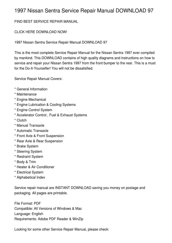 hight resolution of 1997 nissan sentra service repair manual download 97 by vadim birch issuu