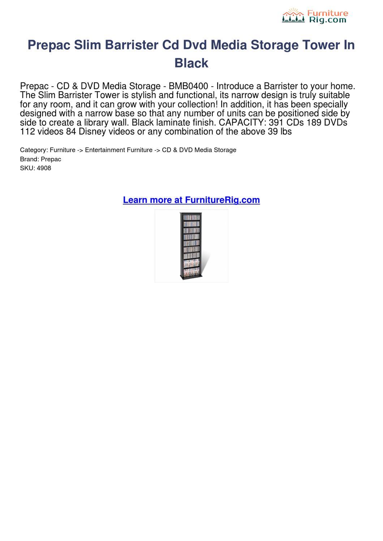 Prepac Slim Barrister Cd Dvd Media Storage Tower In Black