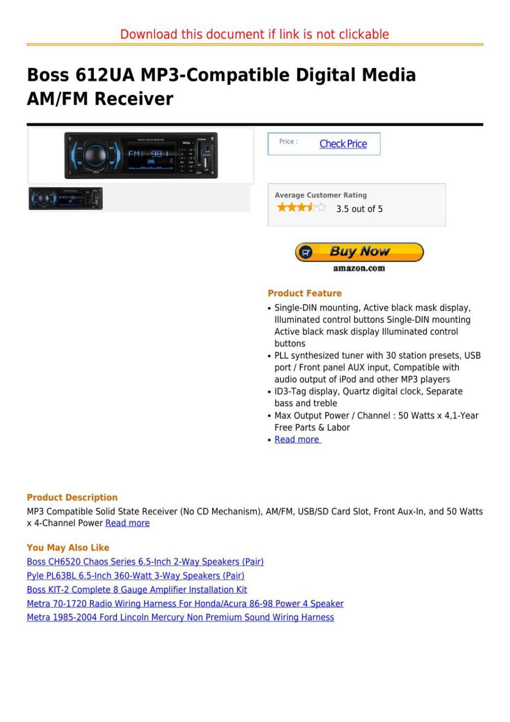 medium resolution of boss 612ua mp3 compatible digital media am fm receiver